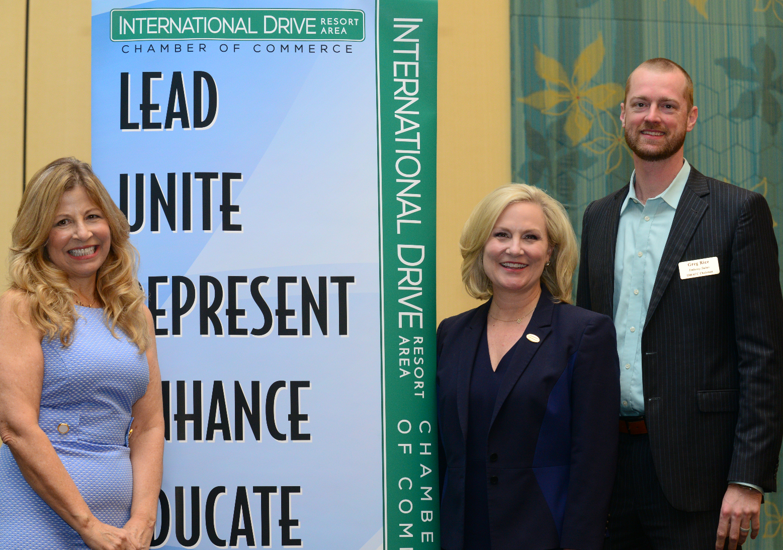From Left to Right: Maria Triscari, I-Drive Chamber president; Casandra Matej, Visit Orlando president & CEO; Greg Rice, I-Drive Chamber chairman, Embassy Suites Orlando International Drive/Convention Center