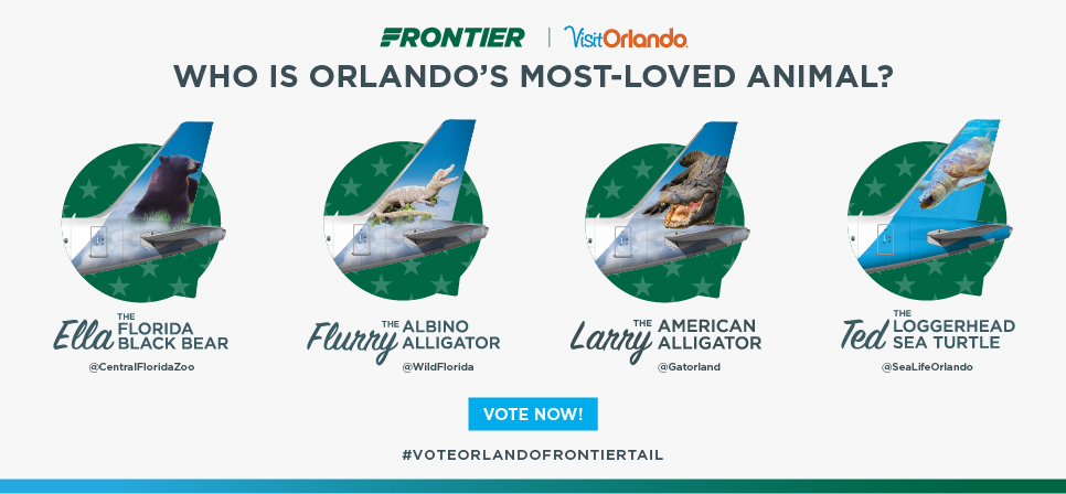 This national promotion will ask consumers to vote for the next animal that will grace the tail of a Frontier plane.